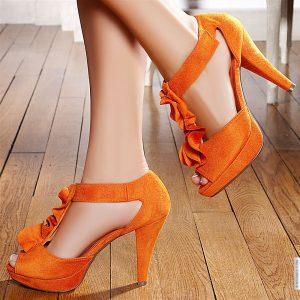 کفش پاشنه بلند نارنجی