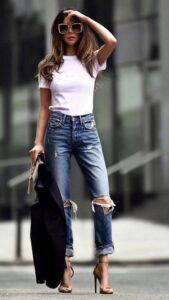 گذاشتن تیشرت در شلوار برای خانم های قد بلند