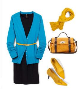 ژاکت آبی با پیراهن مشکی زنانه